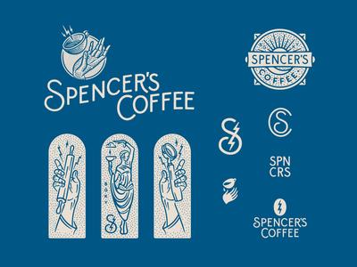 Spencer's Coffee Rebrand logodesign logotype logo typography line art lightning bolt illustration hand greek branding and identity brand design brand identity branding rebrand coffeehouse coffee bean coffee shop coffeeshop coffee cup coffee