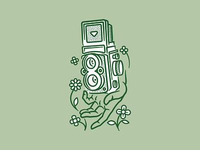 Fresh film hands hand 35mm medium format film photography old camera rolleiflex flowershop flowers monowidth linework thicklines lineart photography photographer drawing vector camera film shoot film