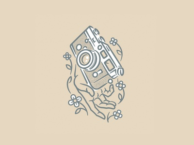 Please don't drop my Leica handdrawing tan artwork vector branding logodesign icon shoot film thicklines illustration logo photography cameras film floral flowers leica hand hands camera
