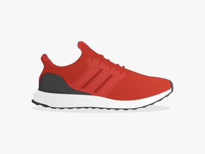 "Adidas Ultra Boost ""Energy Red"" running shoe illustration ultraboost adidas"