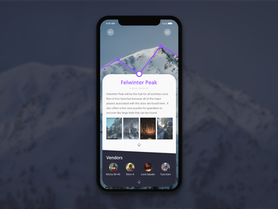 Felwinter Peak guide mountain location info travel destiny 2 ios iphonex design ux ui destiny