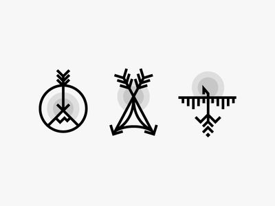 Some more randomness icons line bird hiking camp mountain tent icons