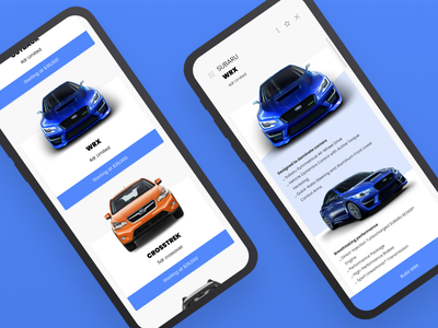Car exploration app interface wrx subaru phone ui car