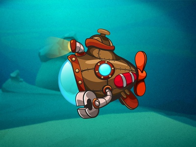 Dr-Dr-Dr-Dr-Submarine game art underwater game submarine character vector blue deep achtung
