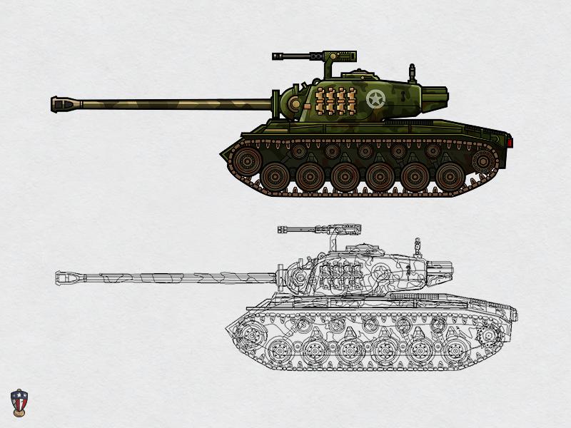 USA Super Pershing illustration vector pershing ww2 war game art tank usa unit ipad