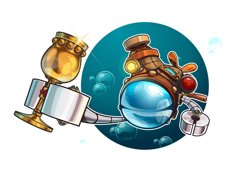 Achtung! Deep vector illustration game ipad logo sign achtung! deep game art underwater submarine adventure