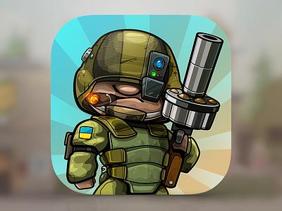 Islands Defense TD Icon ios icon head big gun war soldier modern