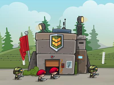"Codename ""Modern Miniwarriors"" - Barrack vector illustration army mobile game game art building barrack soldier"