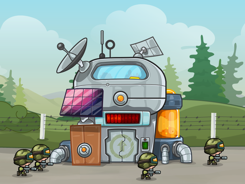 "Codename ""Modern Miniwarriors"" - Lab soldier lab building game art mobile game army illustration vector"