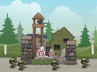 "Codename ""Modern Miniwarriors"" - Boot Camp vector illustration army mobile game game art building camp soldier"