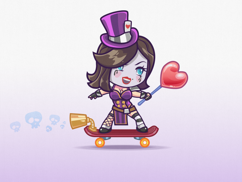 Ride Moxxi Ride game mobile boobs moxxi fanart girl character skater heart