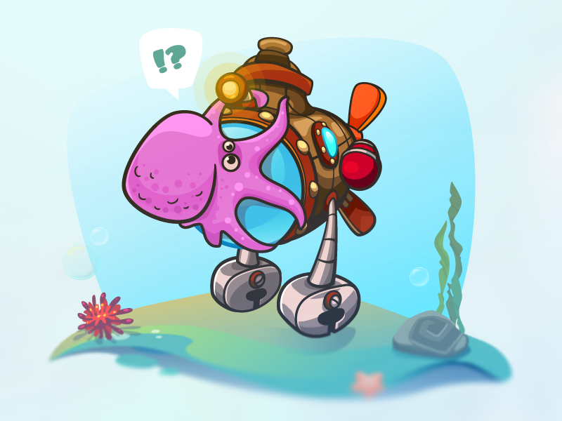Facepalm Bro! vector deep blue adventure underwater gameart achtung submarine neo octopus bro faceplam