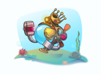 You Win! treasure neo submarine achtung gameart underwater adventure blue deep vector popup win