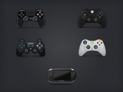 Video Game Controller Icons controllers ps3 ps4 vita video games xbox 360 xbox one pixel