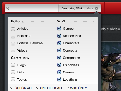 Search Group Options giantbomb search