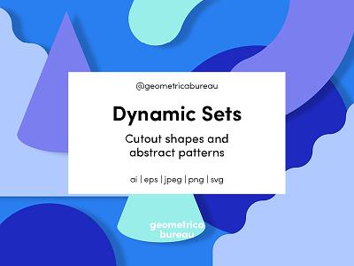 Dynamic Sets on trend set cutouts poster geometric colour monochrome creative market design resources shapes illustration pattern graphic design