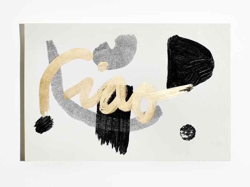 Envelope print gold white black shapes