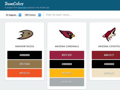 Team Colors web design web
