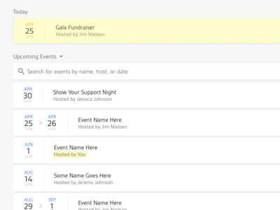 Event list view