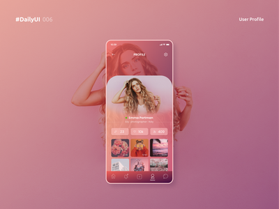 Pinky Profile clean clean design application design application uidesign uxdesign ux ui dailyui 006 user experience user profile userinterface pink gradients app minimal profile page user profile design