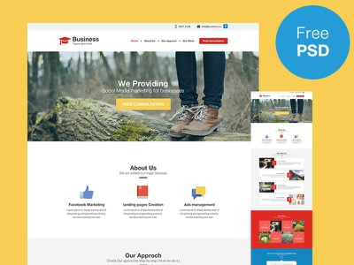 Business Theme ui ux flat design minimal design cleen professional free psd web theme