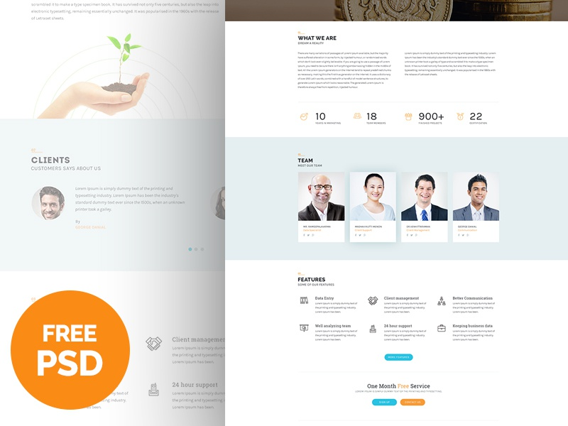 Bplus : Business Free PSD button team testimonial mockup theme business free psd freebie ux ui