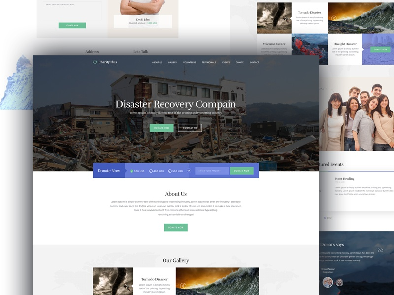 Charity Single page design  website web design ui landing page humanitarian rights homepage form footer donation banner