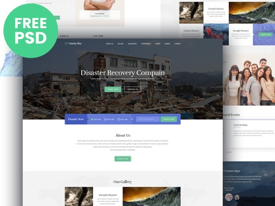 Free PSD : Charity theme web design ui landing page rights homepage form footer donation banner psd freebie