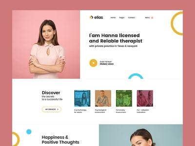 Therapist Home page illustration blog web form clean freelancer minimal business typo color ui template theme psd homepage therapist