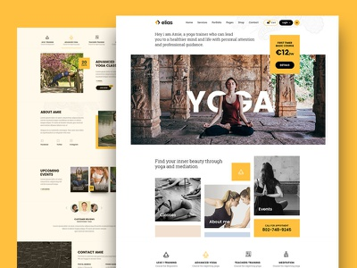 Yoga color template theme map contact form typo pricing psd ui minimal services contact blog image homepage yoga