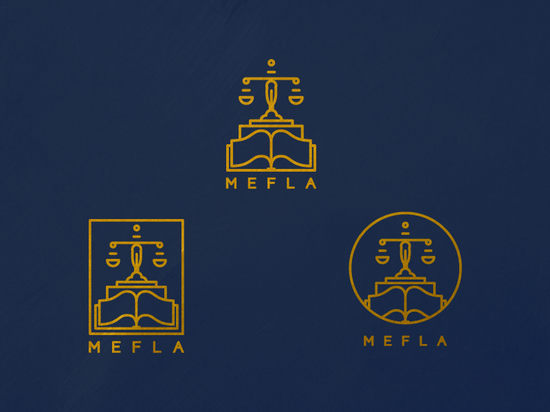 MEFLA Identity Marks (WIP) mefla identity marks logo branding law justice system scale book association organization