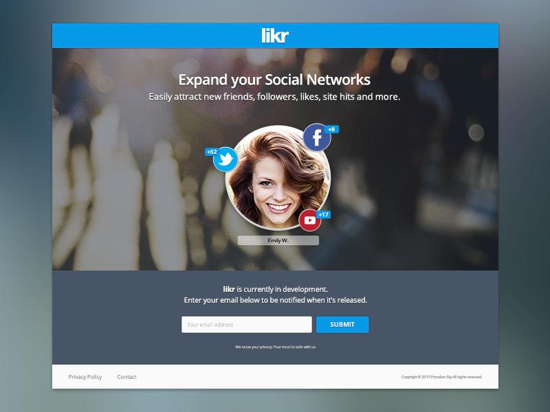 Likr Splash Page (Unused) unused website site page splash like influence network media social likr
