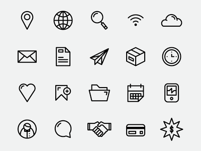 Simplicons (Free Download) simple icon set free location marker globe magnifying glass wifi cloud mail envelope paper airplane box clock heart bookmark folder