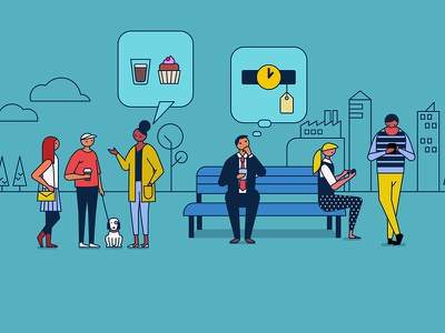 Logistics Explainer People 2 park city coffee cupcake millenials hipster dog shopping smartphone texting character design characters people