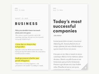 Minimal news feed/reader v.3 minimal clean yellow highlight color text type typography editorial mobile reader news