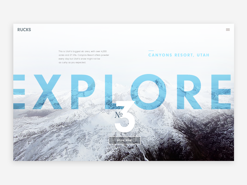 Destinations page editorial gear shop interface sports snow mountains travel