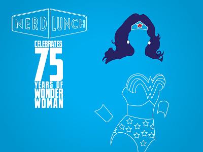 Nerd Lunch celebrates 75 Years of Wonder Woman nerd lunch super hero comic book wonder woman simple art line art illustrator