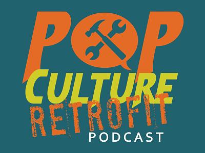 Pop Culture Retrofit Logo illustrator logo podcast