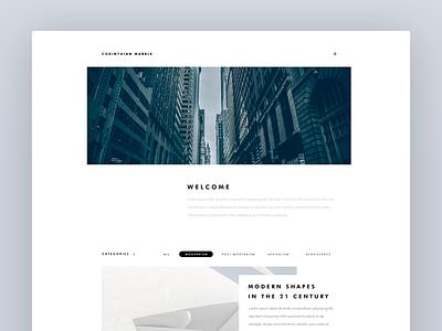Blog Design - Home Page white space minimal architecture web design blog ux ui
