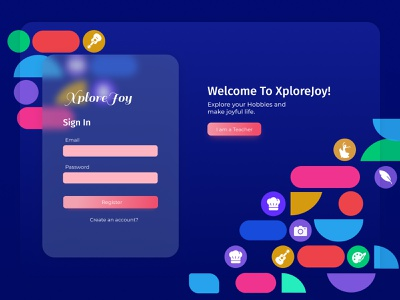XploreJoy web ui web colorful login blue sign in form sign in sign up uxdesign ui  ux uidesign responsive design web design website
