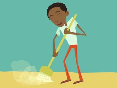 Ethiopian Boy Sweeping