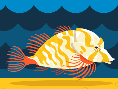 Grunt Sculpin—Seattle Aquarium 2016 kids fish advertising ngo non-profit zoo minimalism flat vector illustration cartoon animal