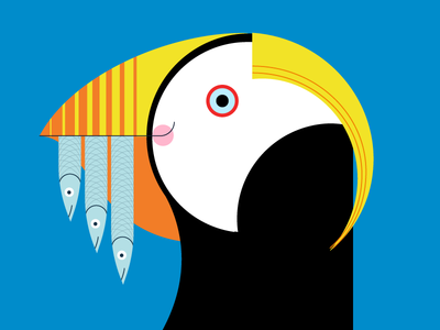 Tufted Puffin Alt.—Seattle Aquarium 2016 charley harper bird ngo non-profit zoo minimalism minimal flat vector illustration cartoon animal