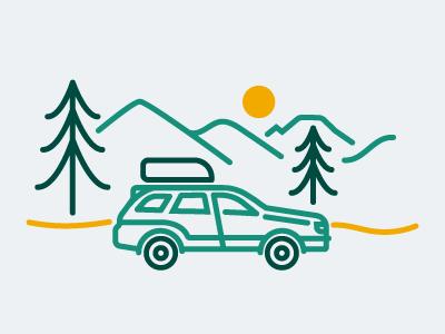 Road Access washington landscape car suv subaru forest drawing line monostroke illustration icon