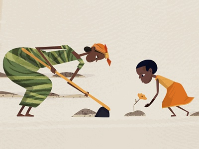 Mother & Child vintage retro textured world vision ngo family africa girl non-profit drawing illustration