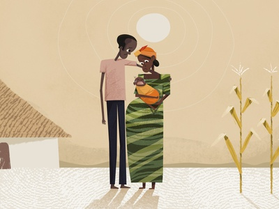 Hungry Family zambia textured vintage retro world vision ngo family africa girl non-profit drawing illustration