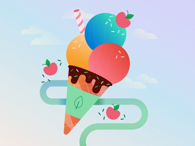 Happy Friday! treat yo self treat mongodb illustration celebrate cherry sundae icecream