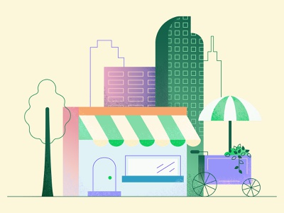 Happy Monday! build mongodb illustration shopping outdoors cities buildings stores carts store fronts vendors city