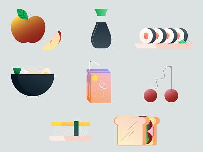 Happy Friday! sandwich ramen fruit sushi branding mongodb illustration food illustration food
