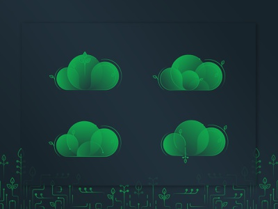 Happy Little Clouds leaf green gradient exploration mongodb clouds cloud branding vector design illustration